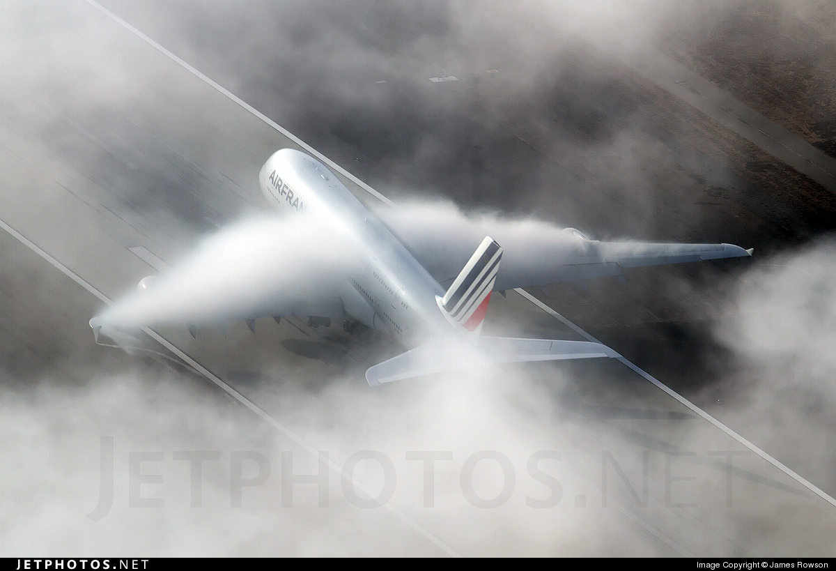 Air France A380 F-HPJH departing LAX into the Marine layer