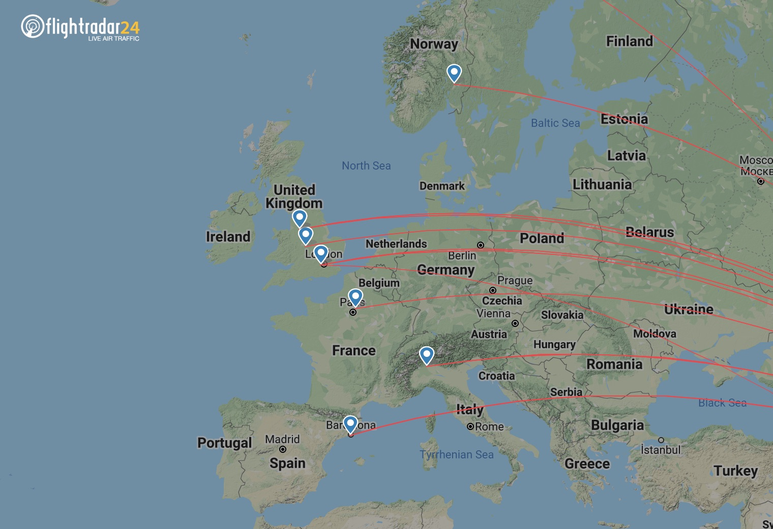 Pakistan International Airlines routes to Europe
