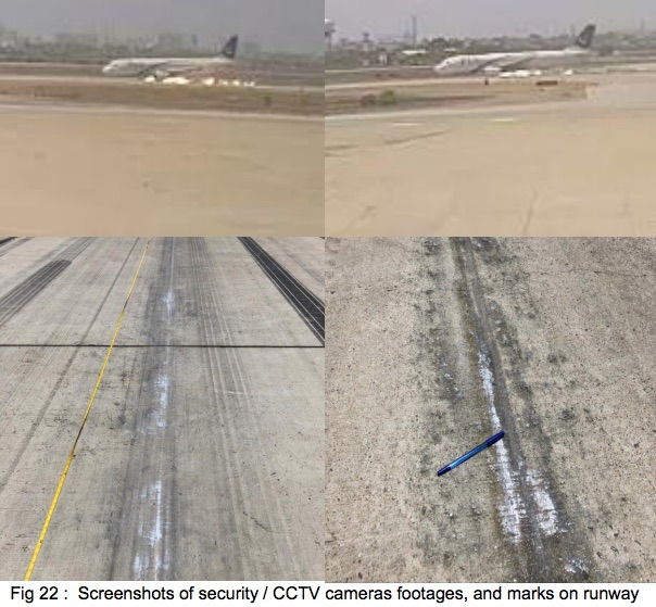 CCTV screen captures and photos demonstrating runway scraping by the engines.