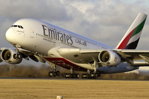 Emirates A380 departure