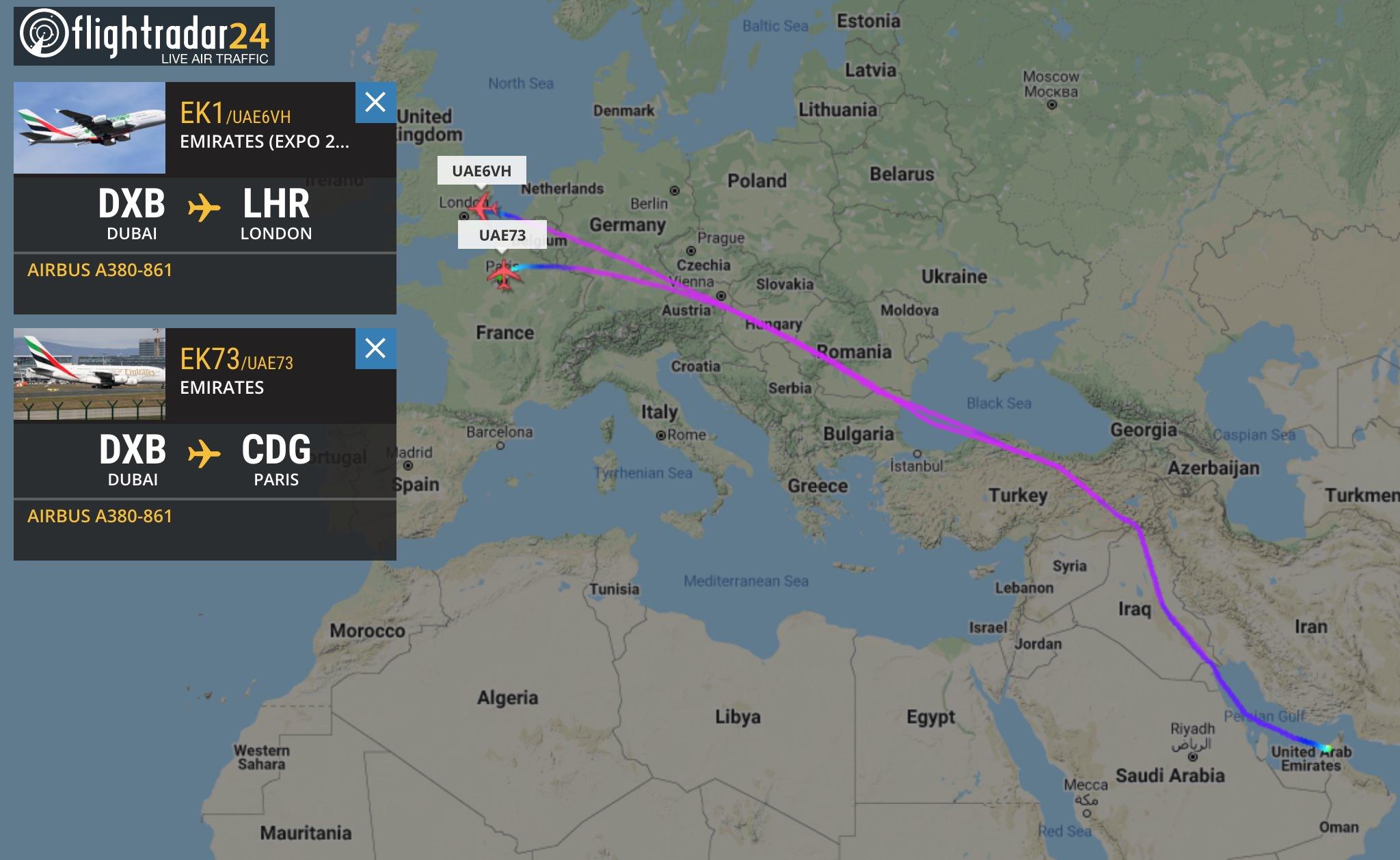 Flight paths of EK1 and EK73