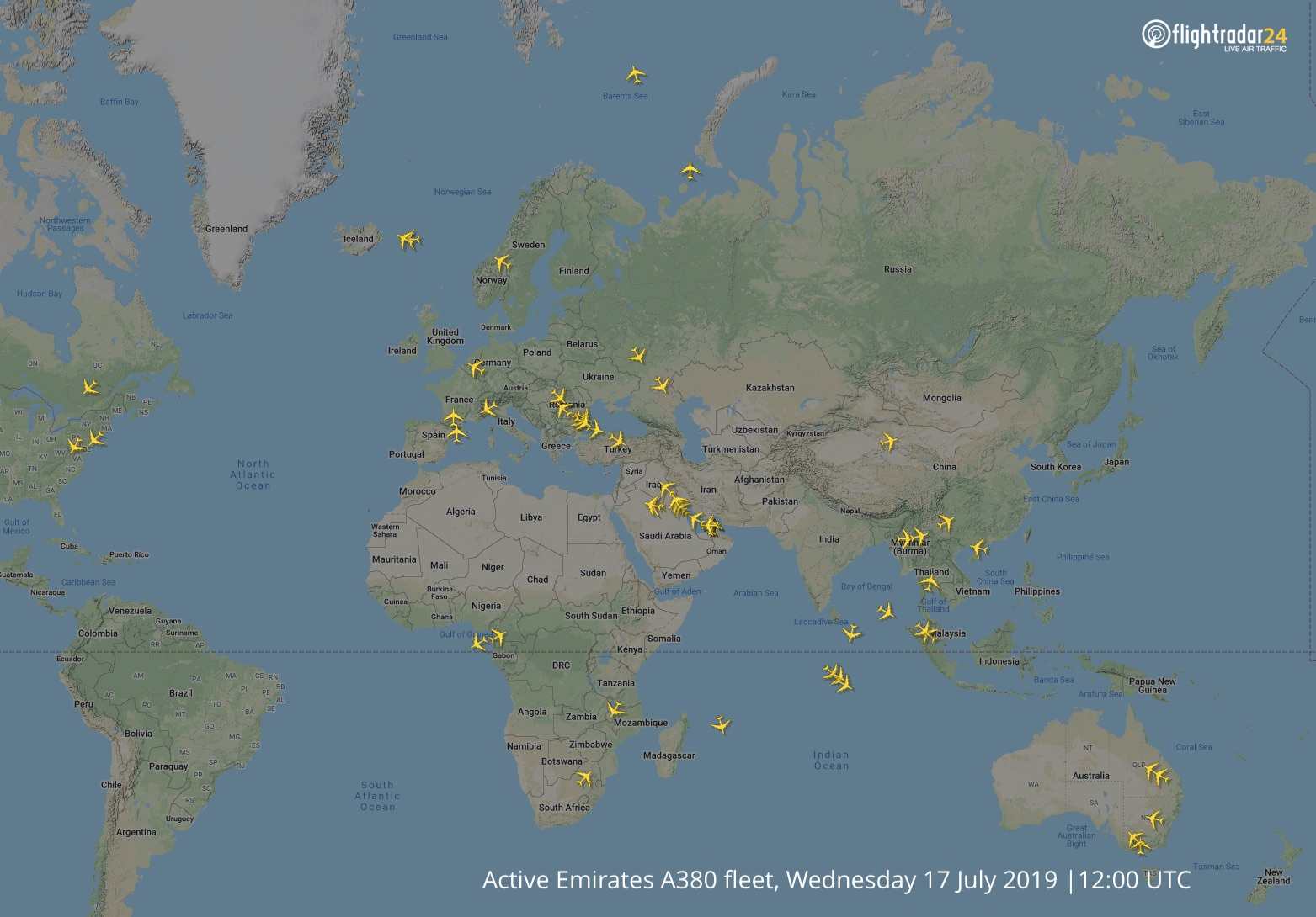 The Emirates A380 fleet mid-July 2019