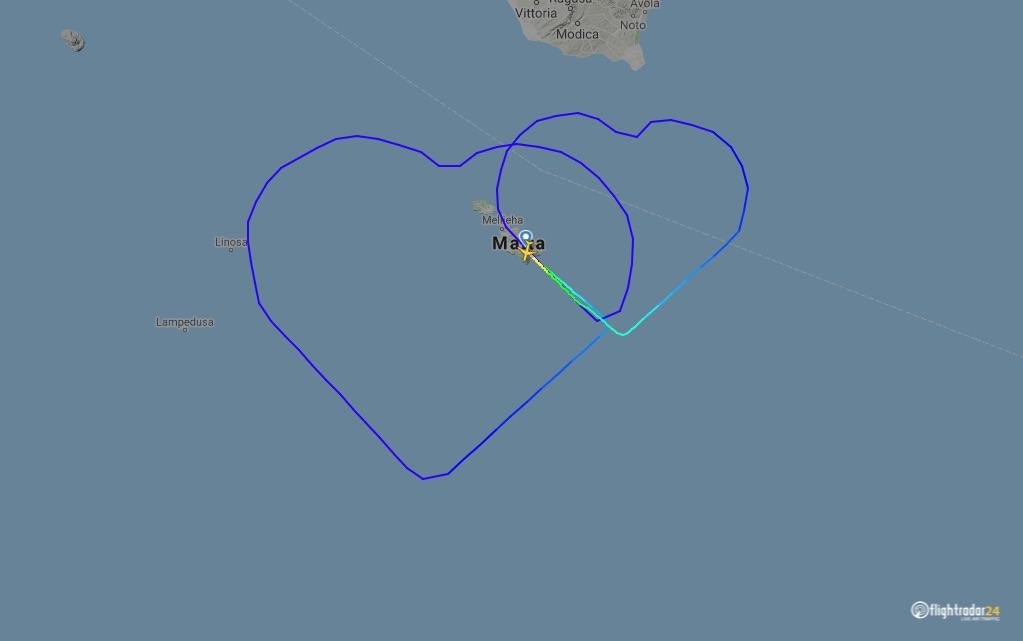 Air Malta love is in the air heart flight