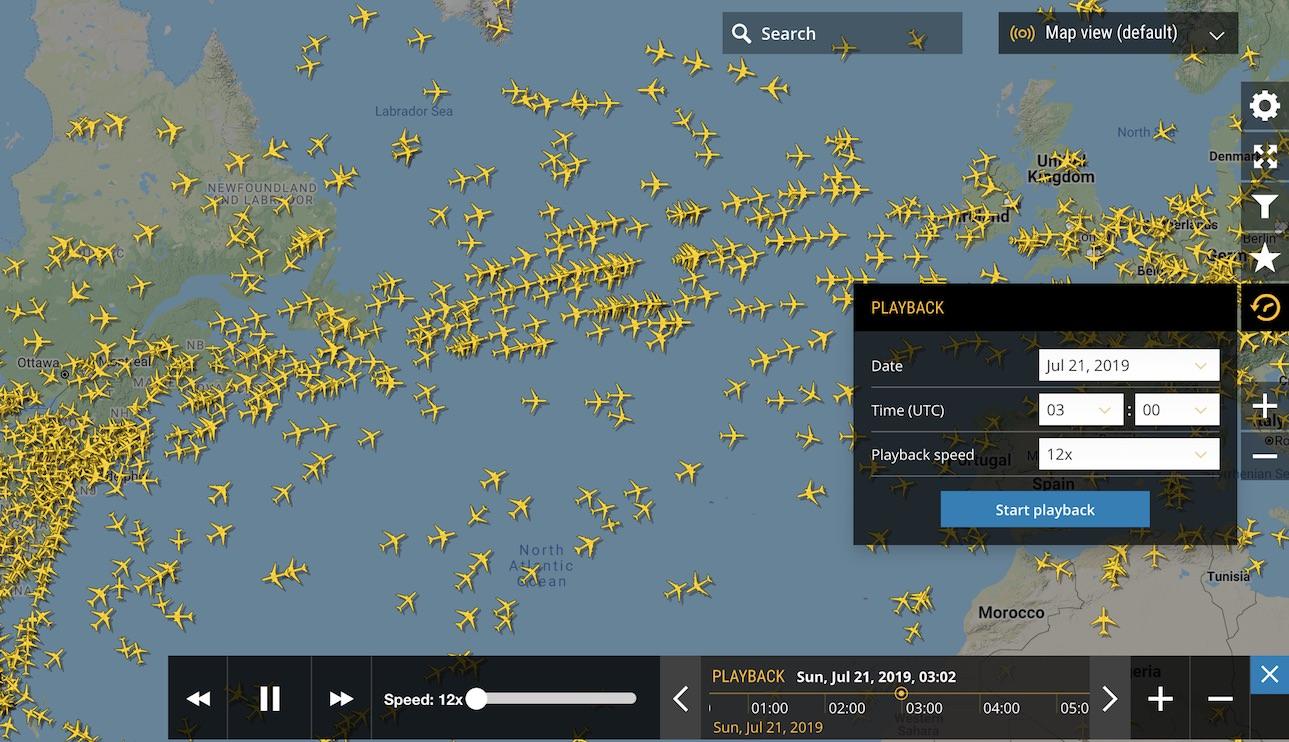 Global playback of flights on Flightradar24