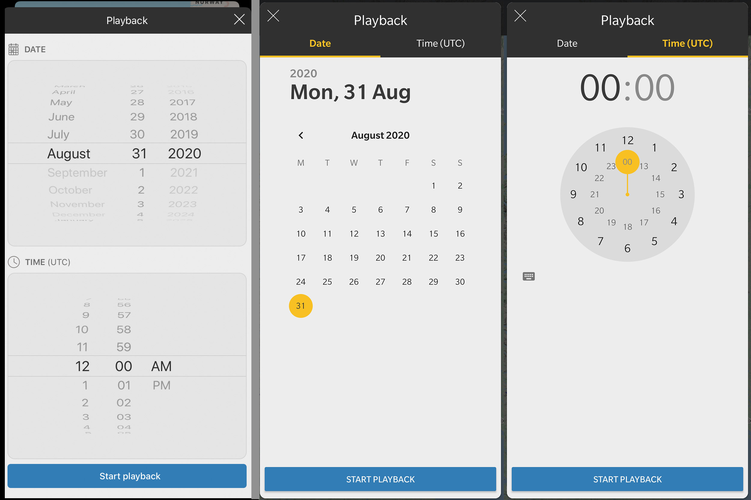 iOS and Android Date and Time playback selectors