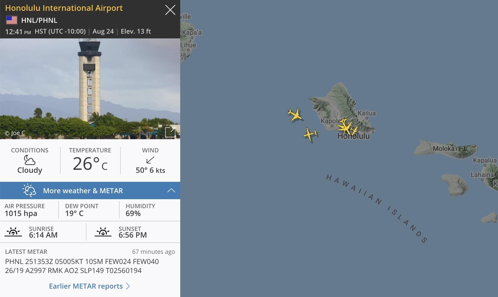 Flightradar24 METAR page HNL