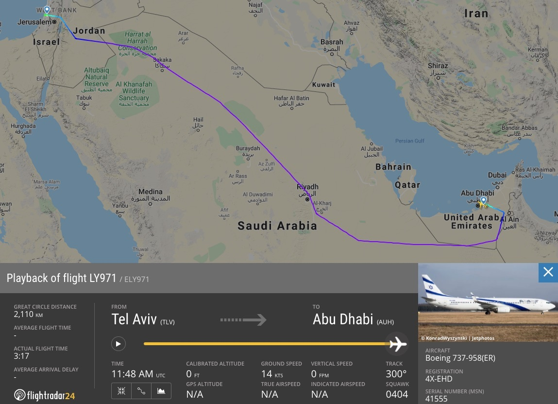 Israeli airline El Al makes historic non-stop flight to United Arab  Emirates | Flightradar24 Blog