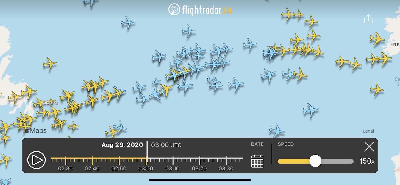 Playback of flights in the Flightradar24 app