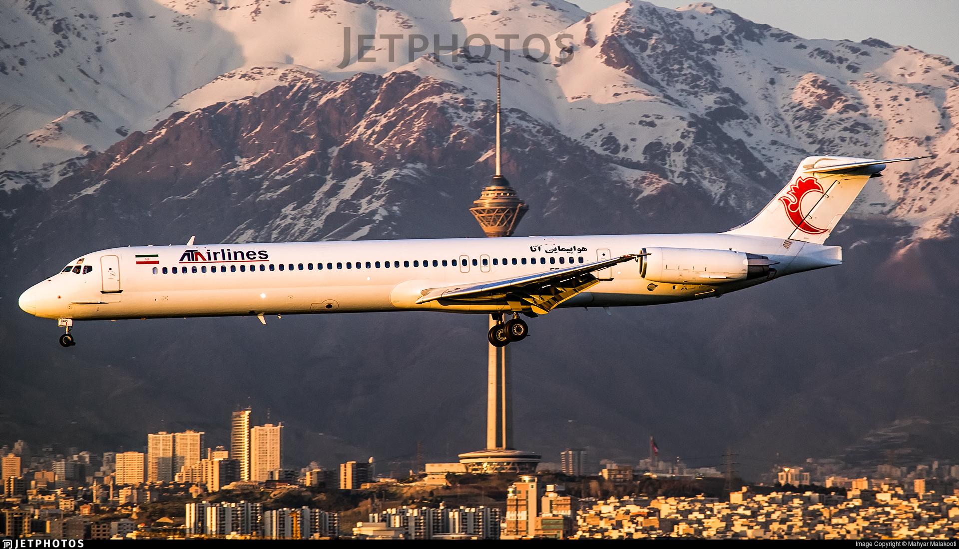 ATA Airlines Iran mountains terrain Tehran Iran MD-83