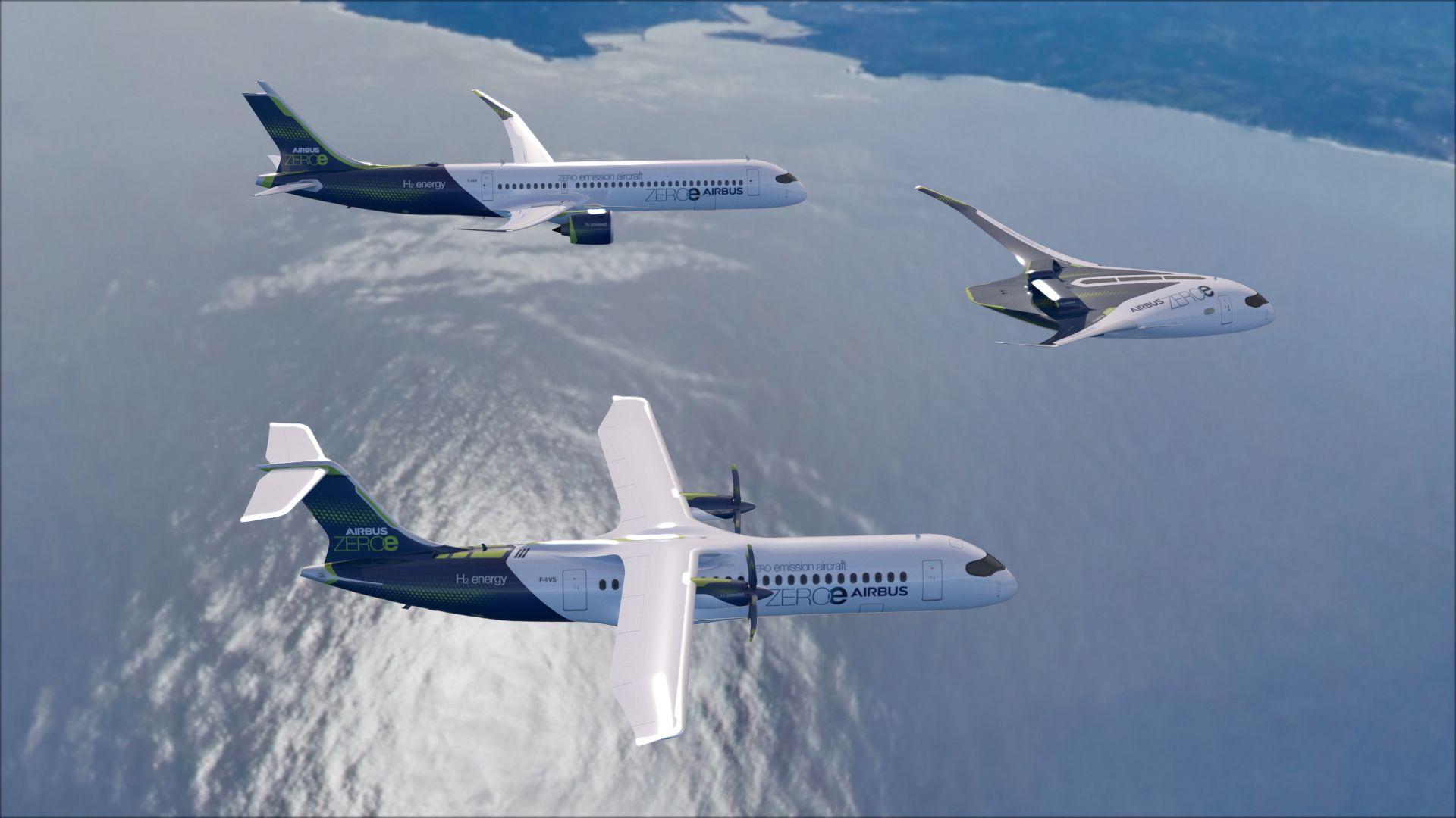 Airbus ZeroE zero-emission clean green aircraft