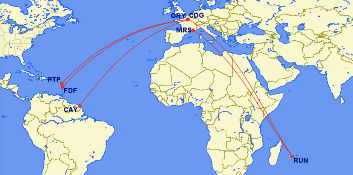France territories outre-mer longest domestic flights in the world Reunion, Guadeloupe, French Guiana