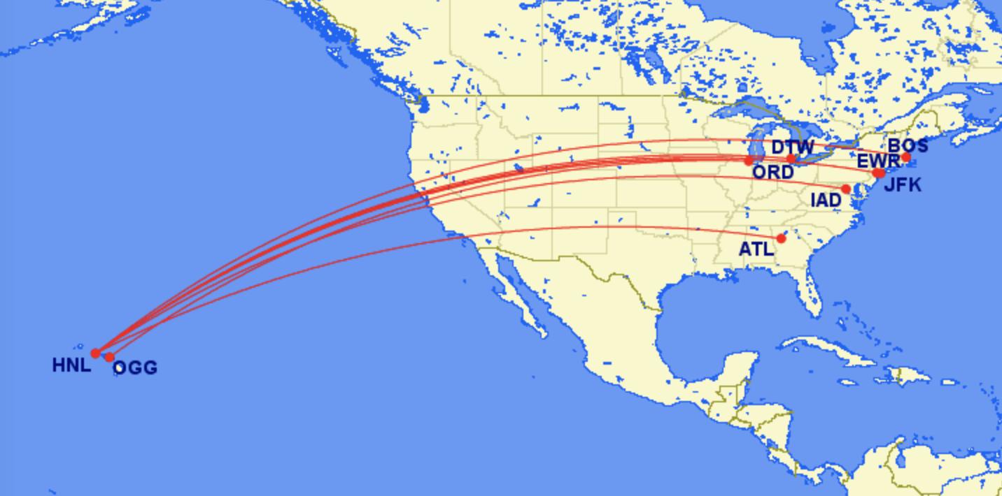 longest domestic flights in the world Hawaii US east coast Boston Honolulu