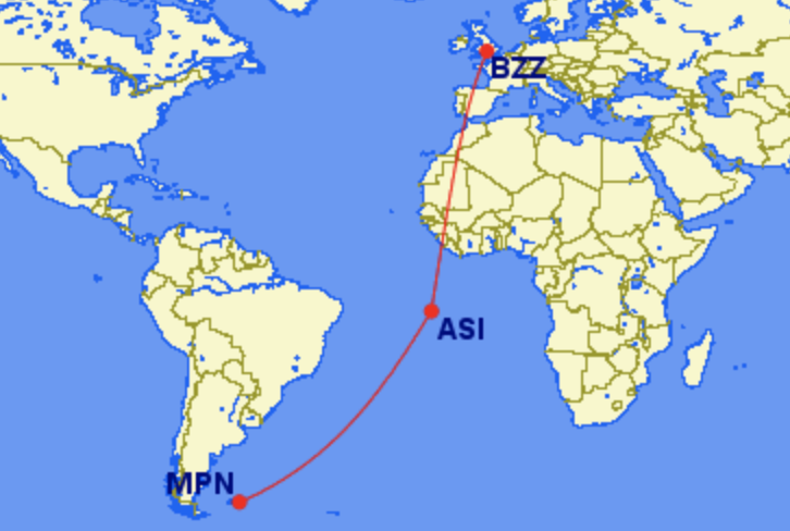 Brize Norton Ascension Falkland Islands Pacific Ocean remote longest domestic flights