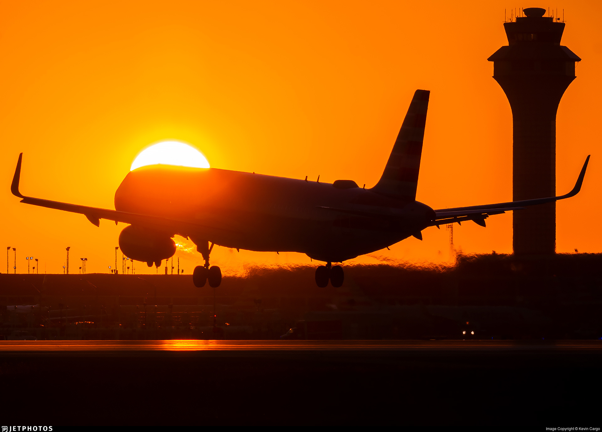 Airline sunset takeoff A321