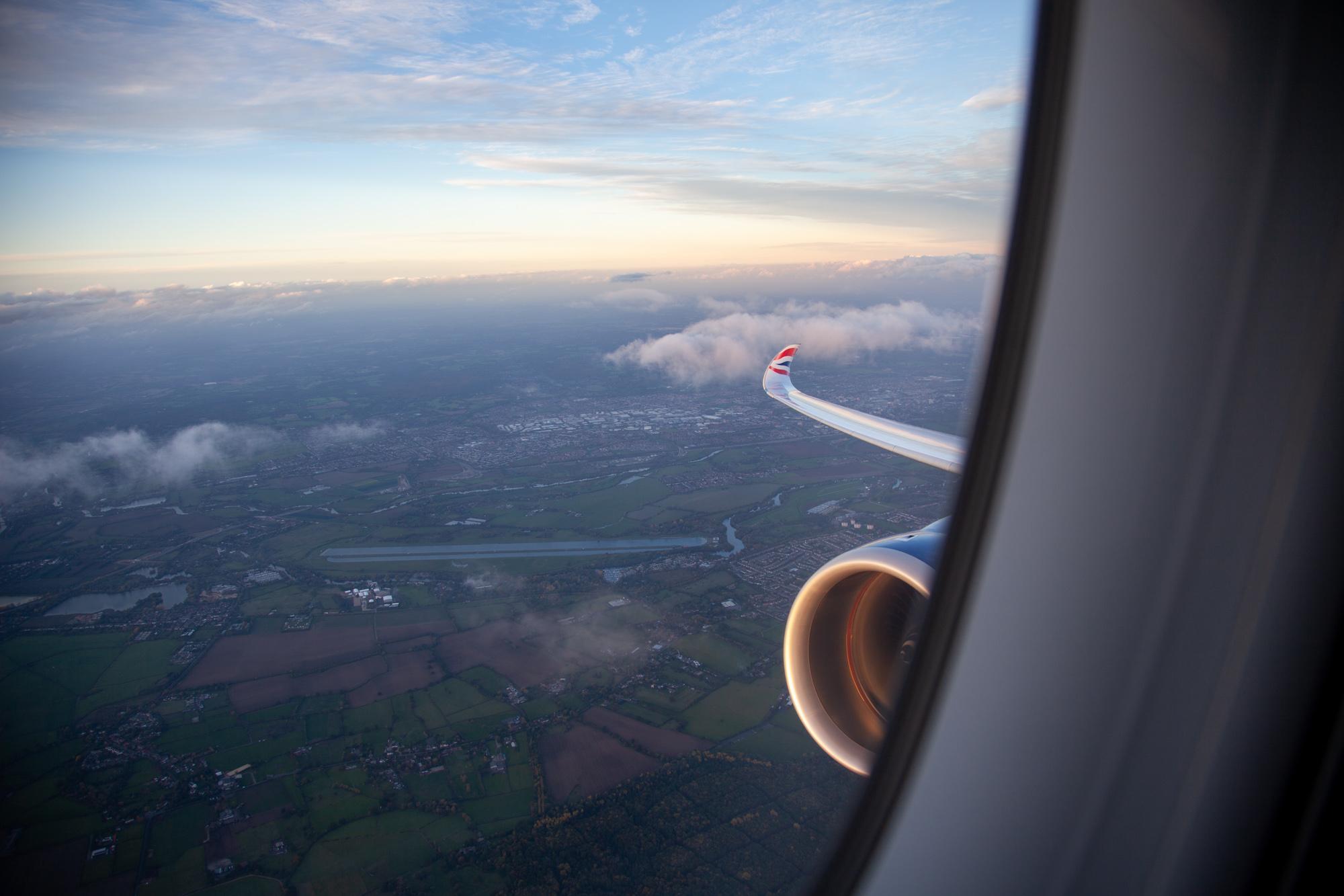 British Airways A350-1000 takeoff London Heathrow Washington DC