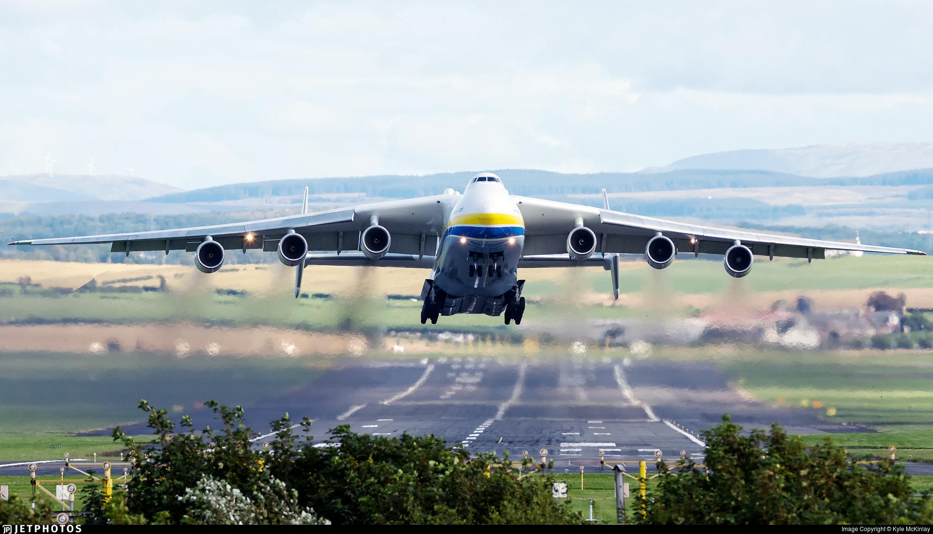 The Antonov AN-225 departing Prestwick in August