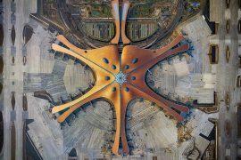 Overhead view of Beijing's new Daxing Airport