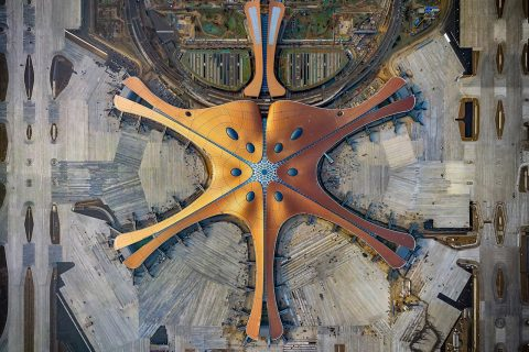 Overhead view of Beijing's new Daxing Airport
