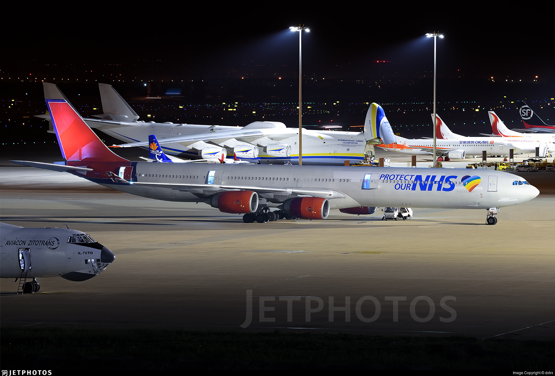 A European Cargo A340 in Tianjin to collect medical supplies for the UK