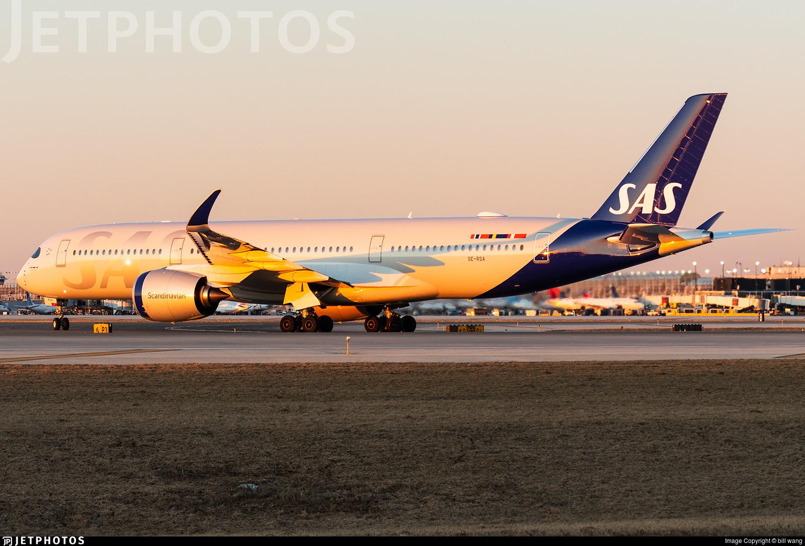 SAS A350 in golden light in Chicago