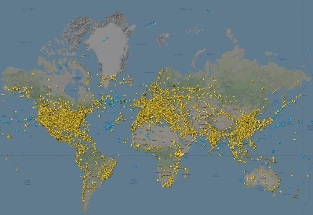 Santa and his sleigh near the north pole with global air traffic on the Flightradar24 map