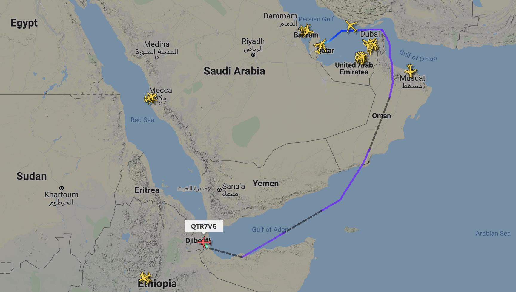 Qatar Airways blockade lifted Saudi Arabian airspace Doha to Djibouti flight