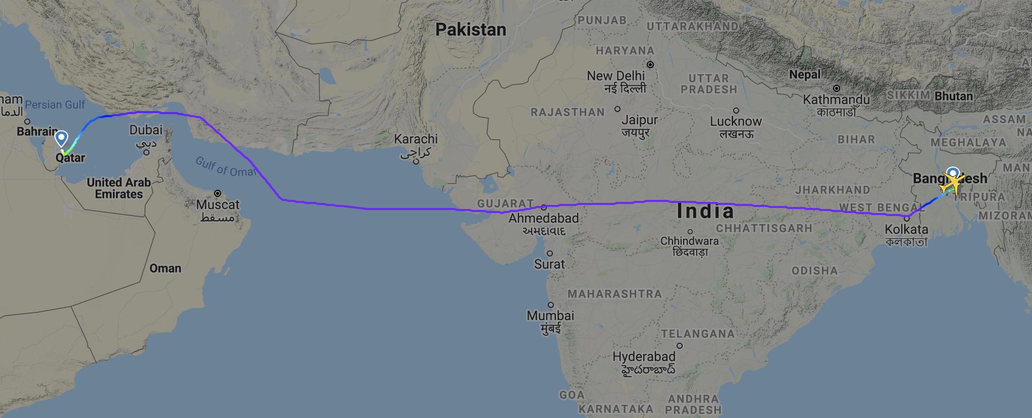 Qatar Airways Dhaka Doha flight UAE airspace Gulf deal