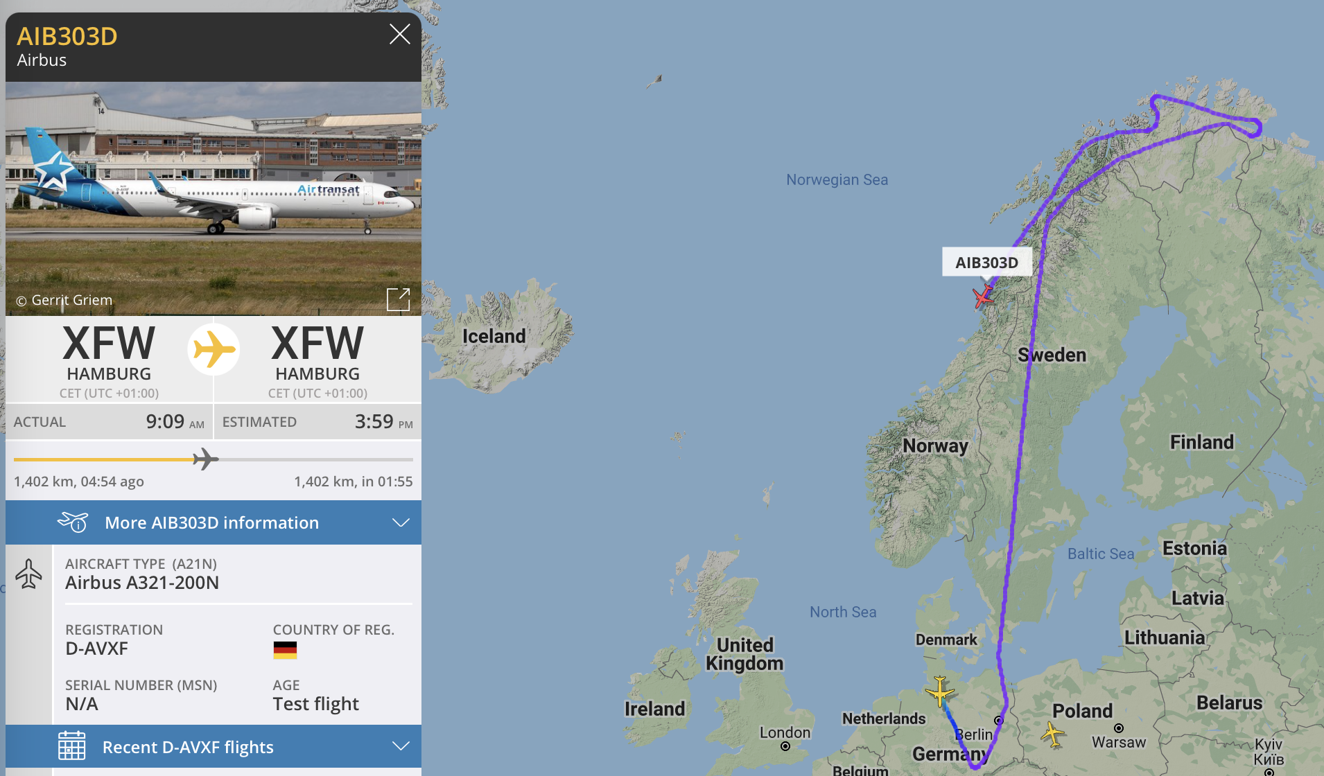 Test flight Airbus A321neo northern Norway