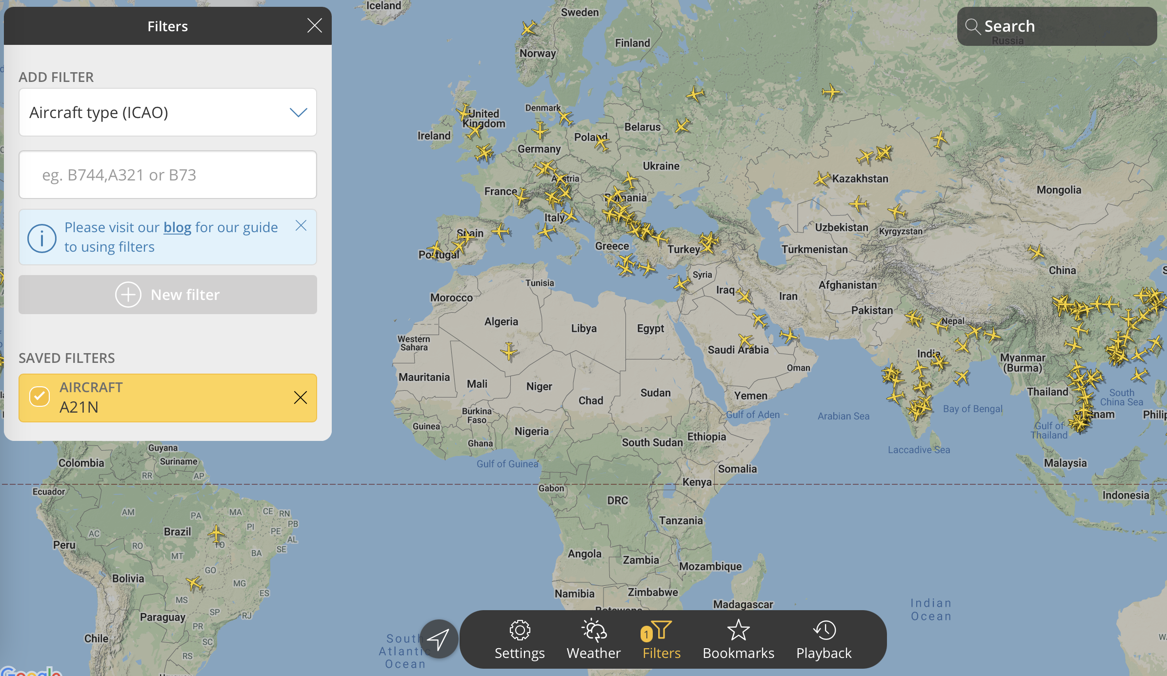 Fun with filters on new flightradar24.com