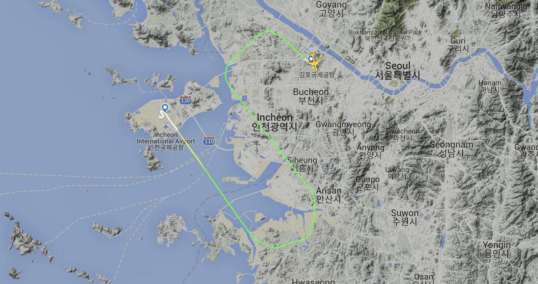 Korean Air very short hop Gimpo Incheon 777 PW4000 engine failure