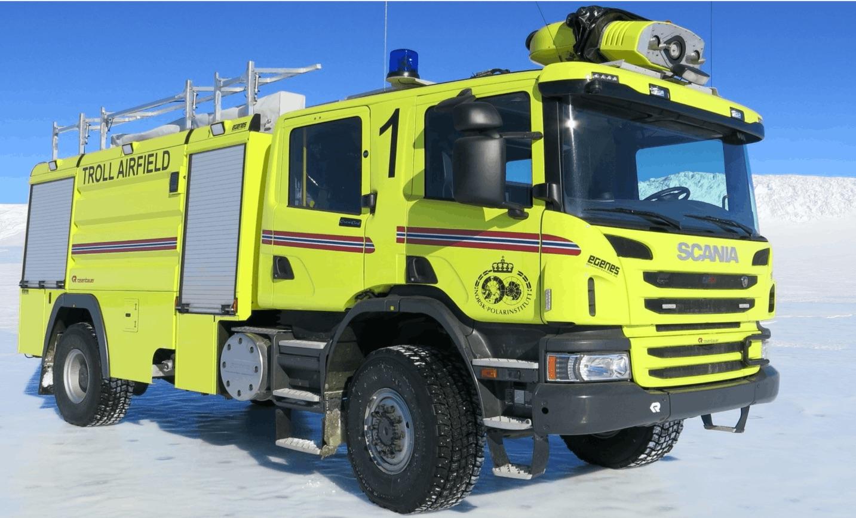 "Troll Research Station's Rosenbauer + Scania ""Buffalo"" light foam tender"