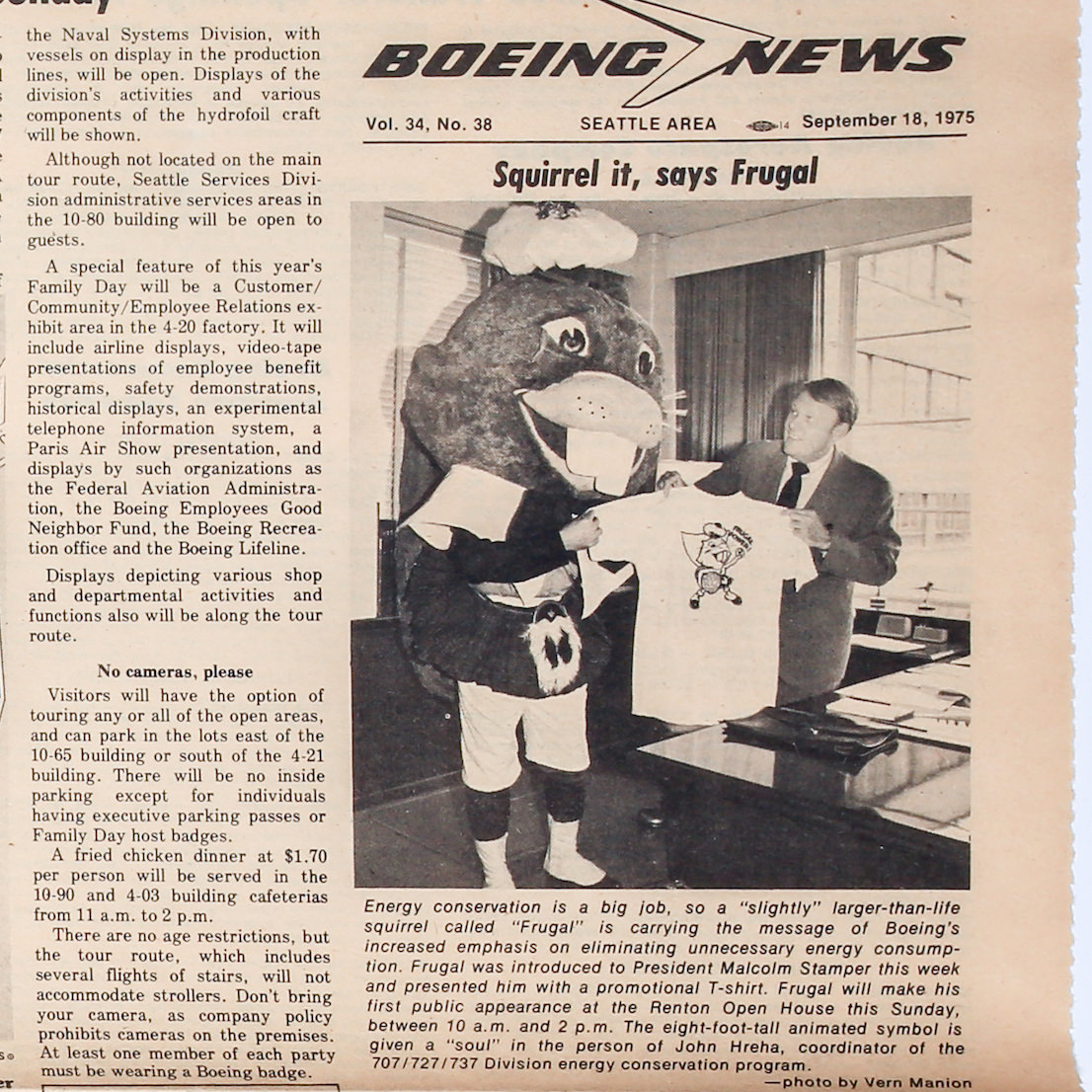 """Boeing News from September 18, 1975 introducing Frugal the Squirrel, Boeing's """"larger-than-life"""" energy conservation mascot."""