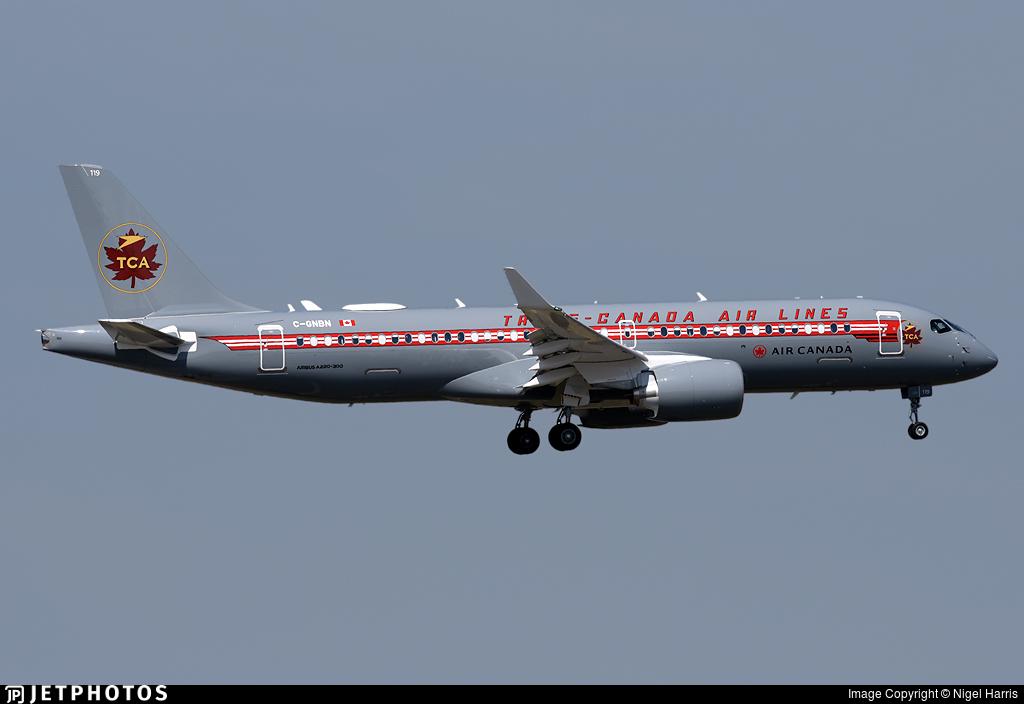 C-GNBN grey sky retro Air Canada A220