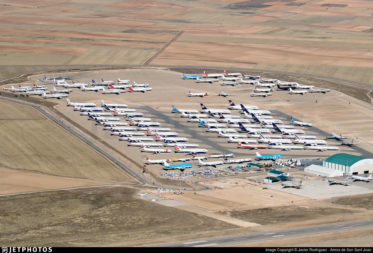 Lufthansa A380s among other aircraft in storage in Teruel, Spain