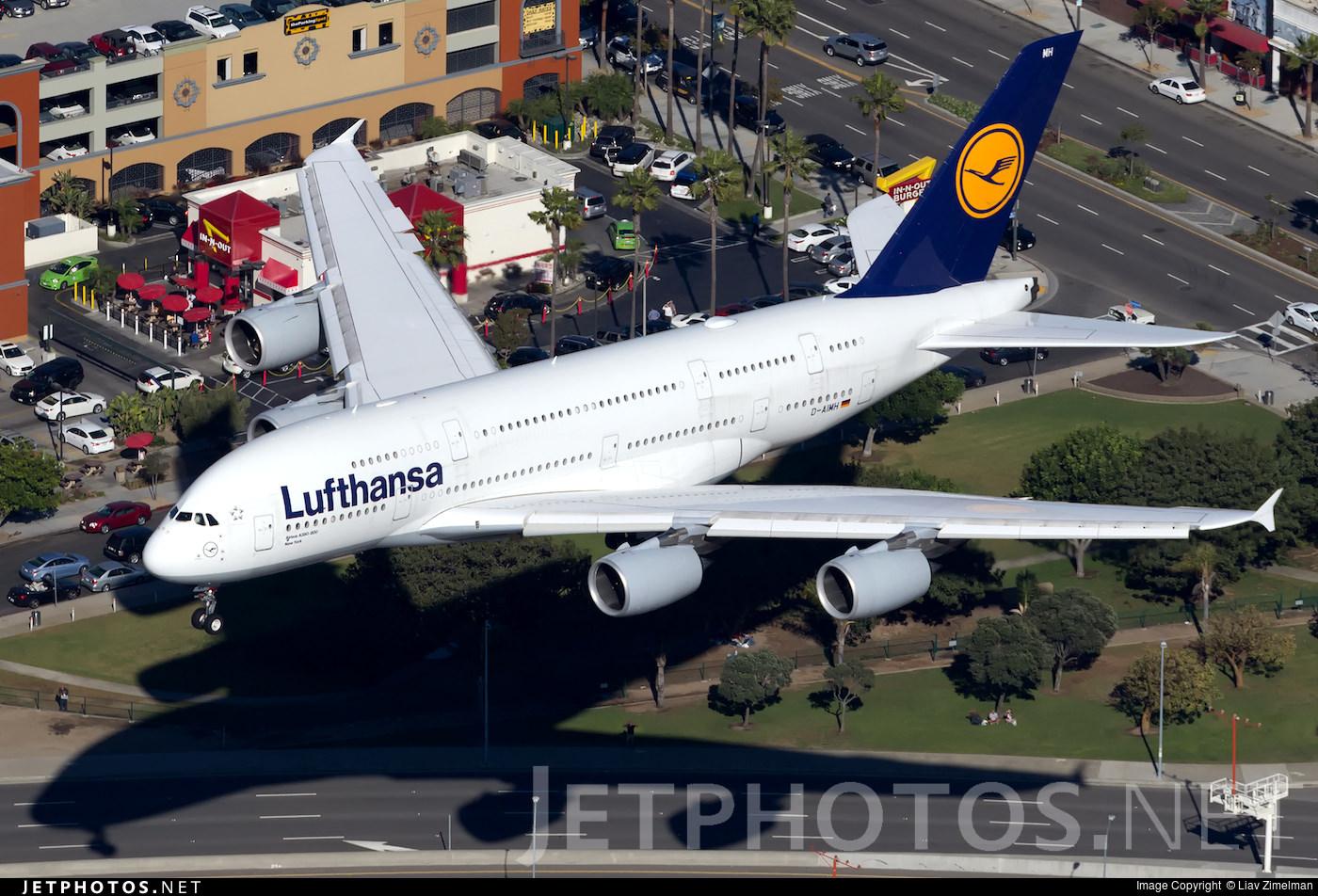 Lufthansa A380 landing in Los Angeles.