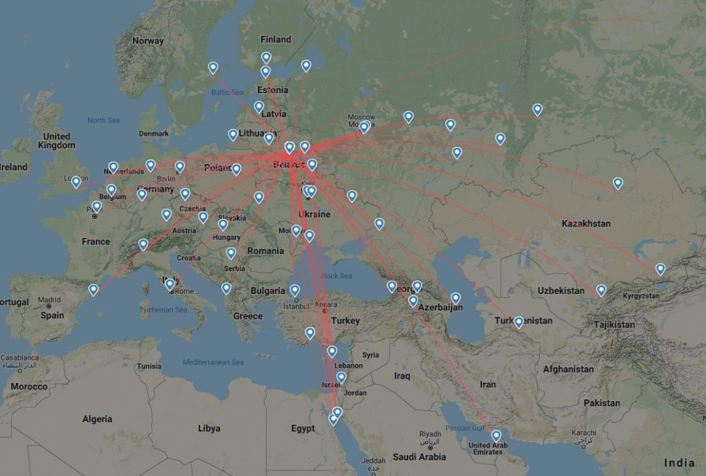 Belavia's route network as of May 23