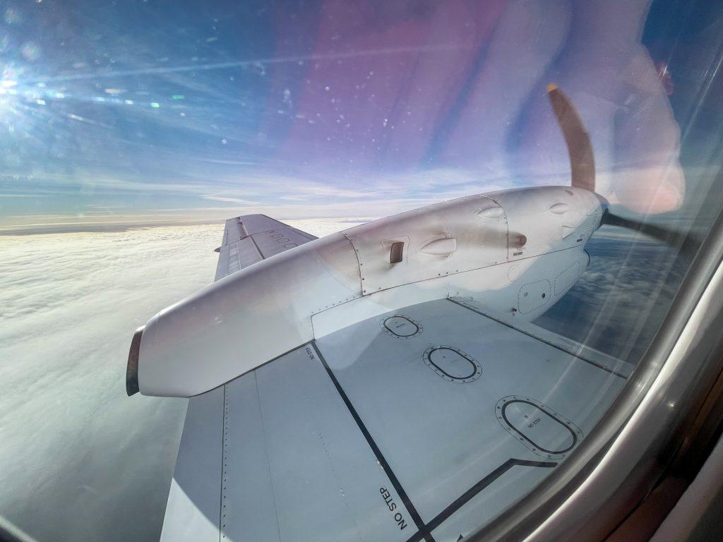 Saab 340 wing view in flight