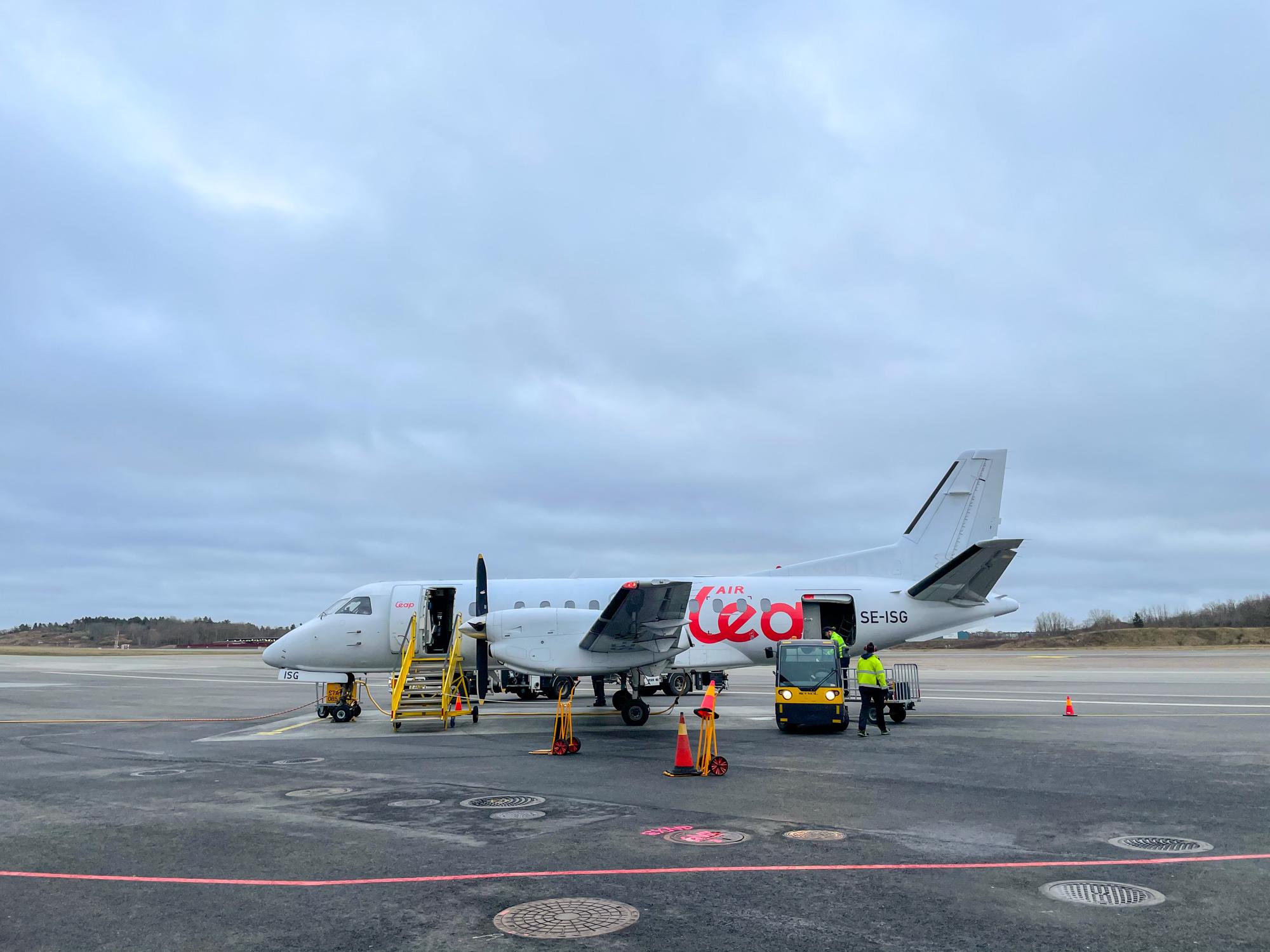 Saab 340 turboprop flying Sweden