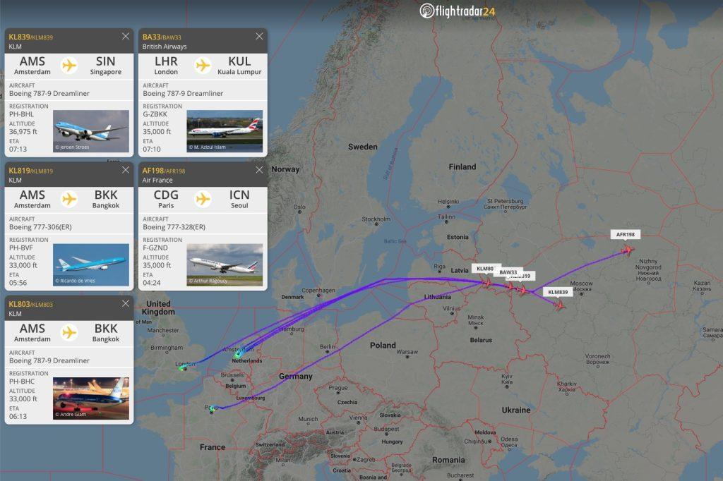 Example of airlines rerouting flights around Belarus