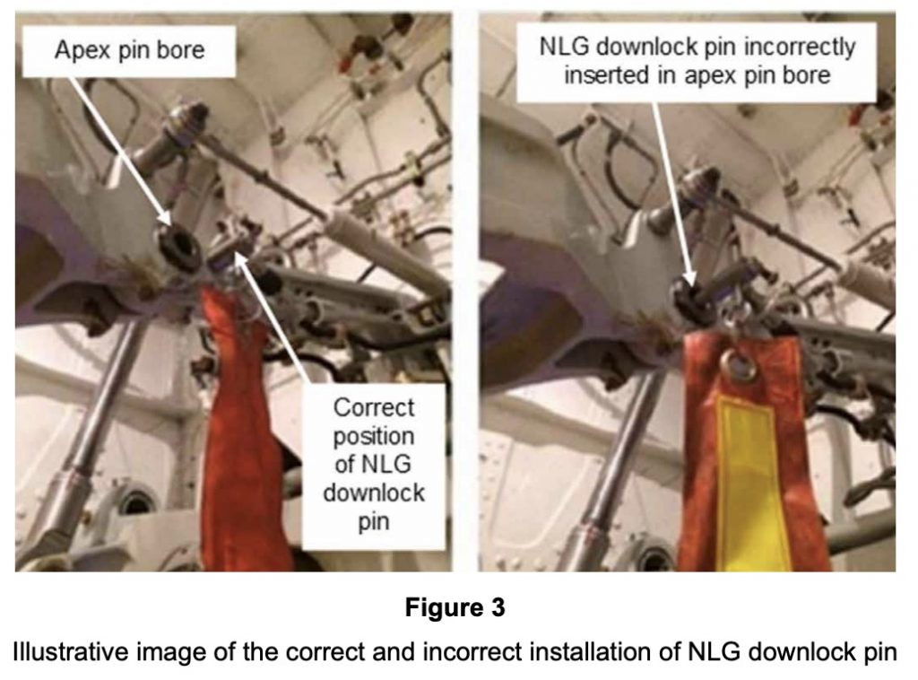 Image showing correct and incorrect positions of downlock pin