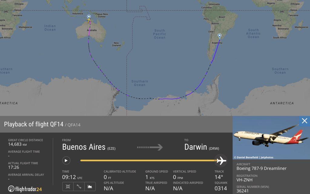 Qantas QF14 flight path
